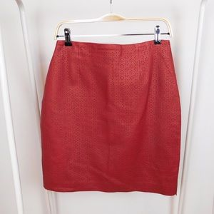 Vintage Red Leather Eyelet Mini Skirt